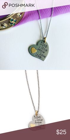 """Silver and Gold Delicate Heart Necklace! All it says is all you need. Five times the love in a silver and gold heart pendant necklace. 16-19"""" inches long. Lia Sophia Jewelry Necklaces"""