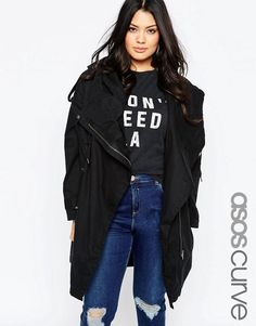 ASOS Curve | ASOS CURVE Parka With Waterfall and Storm Flap at ASOS