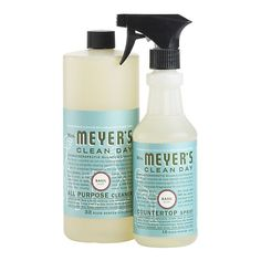 Meyers All Purpose Cleaner - I just buy the concentrated bottle and dilute about 1/4 cup in a large generic spray bottle from Home Depot (or wherever, that's where I got mine). I like to switch-up scents when I buy a new bottle, since a bottle tends to last me about six months.