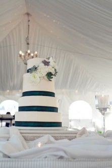 Dark Teal and White Wedding Cake