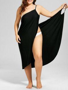 262ceb78b08  CUSTOM  2019 Plus Size Beach Cover-up Wrap Dress In BLACK XL