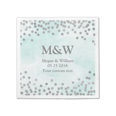 #template - #Blue Watercolor Silver Confetti Wedding Napkin