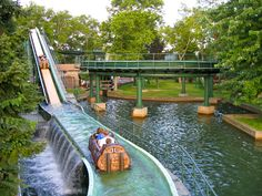 One of the many rides (this one is the Log Jammer) at Kennywood Amusement Park.