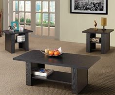 This 3 Piece Occasional Table Set by Coaster features clean contemporary design. Set includes a coffee table and two end tables finished in a rich black finish. 3 Piece Coffee Table Set, Coffee Table Rectangle, Coffee And End Tables, End Table Sets, Coffee Table Design, Coaster Furniture, Dining Room Furniture, Furniture Sets, Home Furniture