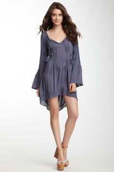 Embroidered Bell Sleeve Hi-Lo Tunic