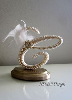 Wedding Cake Topper Monogram Letter C Vintage Ivory Pearls, Gold Brooch & Feather for Gatsby, Beach or Rustic Wedding or Bridal Shower