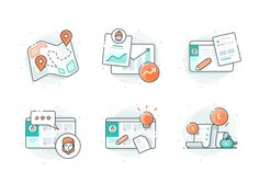 Teachable icons designed by Ghani Pradita for Paperpillar. Connect with them on Dribbble; the global community for designers and creative professionals. Web Design, Flat Design Icons, Icon Design, Logo Design, Vector Design, Outline Illustration, Simple Illustration, Design Thinking, Line Icon