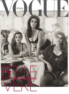 "In June 2011, history was made. Three plus-size models were placed on the cover of Vogue Italia. However, they were featured seductively crawling over giant bowls of pasta, as if to call out, ""these models eat."""