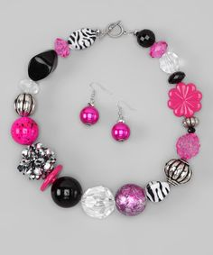Take a look at this Hot Pink & Black Zebra Necklace & Earrings by Rhinestone Junkie on #zulily today!