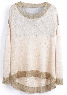 Beige Long Sleeve Metallic Yoke Hollow Sweater - Sheinside.com