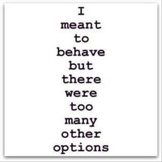 I meant to behave...