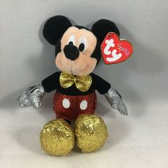 Ty Beanie Boos, Baby Disney, Mickey Mouse, Plush, Sparkle, Toys, Disney Characters, Red, Toy