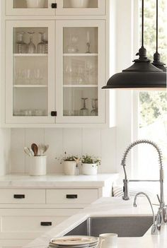 Farmhouse Kitchen Cabinets Shaker Style Glass Doors 67 Best Ideas - Home decor kitchen - Glass Front Cabinets, Refacing Kitchen Cabinets, Farmhouse Kitchen Cabinets, Glass Cabinet Doors, Kitchen Cabinet Design, Kitchen Countertops, Inset Cabinets, Shaker Style Kitchen Cabinets, Cabinet Hardware