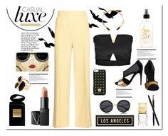 """Casual Luxe"" by grapecrush ❤ liked on Polyvore featuring Arche, Boohoo, The Row, Alice + Olivia, Pamela Love, Versace, Miu Miu, Armani Beauty, NARS Cosmetics and Zara"