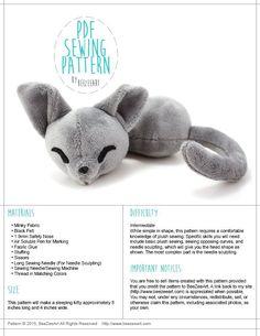 Sleepy Cat Stuffed Animal Sewing Pattern  - Digital Download - www.BeeZeeArt.com