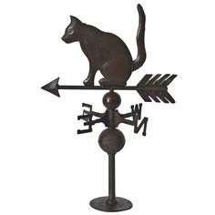 Early 20th Century Diminutive Tin Cat Weathervane on Original Base