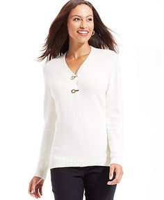 fabbf596c07b4 Charter Club Buckled Henley Sweater Outlet