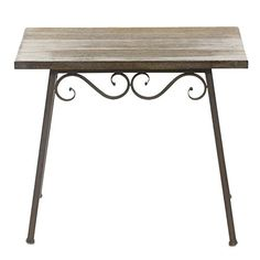 Fleur De Lis Living Gossett Wood and Metal End Table Glass Dining Table, Bistro Table, Wood And Metal Table, Table, Metal End Tables, Wicker Dining Tables, Wooden Tables, Decor Essentials, Metal Dining Table