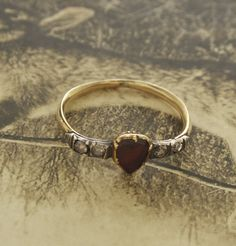 Georgian Garnet and Diamond Heart Ring