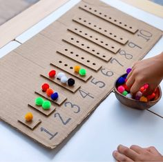 DIY Counting Board 💛 Brilliant idea by 🌈🙌🏻 Check out her page for all the details. Tag us and use the hashtag for a chance to feature your recycled craft, art or activity! check out our epic giveaway two posts back ⭐️ Art Activities For Toddlers, Preschool Learning Activities, Infant Activities, Preschool Activities, Kids Learning, Number Games Preschool, Cardboard Crafts Kids, Cardboard Playhouse, Cardboard Castle