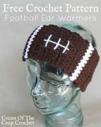 Crochet Projects Patterns Cream Of The Crop Crochet ~ Football Ear Warmers {Free Crochet Pattern} Crochet Headband Pattern, Beanie Pattern, Crochet Beanie, Knit Crochet, Crochet Patterns, Crochet Headbands, Crocheted Hats, Irish Crochet, Baby Headbands