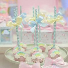 Rainbow Theme Baby Shower, Baby Girl Birthday Theme, Rainbow First Birthday, Tea Party Baby Shower, Baby Shower Cakes, Vintage Birthday Parties, Baby Shower Activities, Baby Shower Centerpieces, 1st Birthdays
