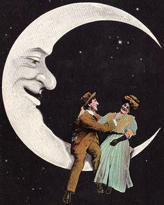 A Tickle on the Moon!  Edwardian Postcard