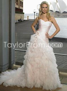 US $180.59 Mermaid Strapless Wedding Dresses Ball Skirt Chapel Train