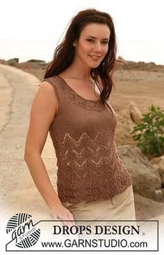 """107-8 top with lace pattern in """"Cotton Viscose"""" by DROPS design"""