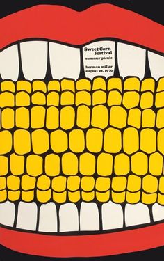 Steve Frykholm poster for the Herman Miller Sweet Corn Festival Summer Picnic on August 21, 1970 (via All My Eyes).