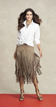 We're not the only ones obsessed with this Faux-Suede Fringe Skirt. You can also find this beauty featured in O, The Oprah Magazine.
