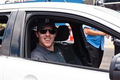 Jimmy Howard rides the pace car for the Quicken Loans 400 at Michigan International Speedway.
