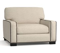 Turner Square Arm Upholstered Armchair with Bronze Nailheads, Down Blend Wrapped Cushions, Performance Chunky Basketweave Oatmeal