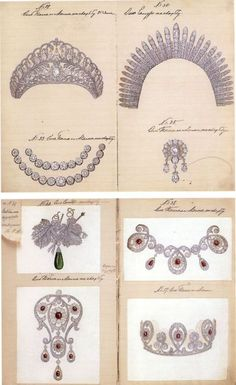 """These are some sketches of jewellery produced for the wedding of TIH Grand Duke Alexander Mihailovich and Grand Duchess Xenia Alexandrovna in 1894.    The images were posted by Volker on the Glittering Royal Events message board and are courtesy of him."""