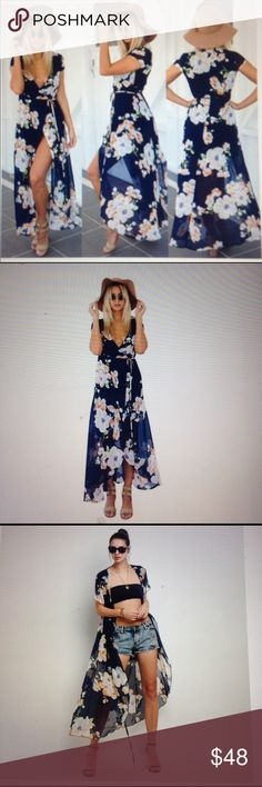 """Almost Sold out !!The Newport Maxi Dress The Newport Maxi Dress is a floral  wrap sheer chiffon Maxi Dress . It may be Worn open or closed . Navy lining at mid thigh . True to size ..49"""" in length .and the inside is similar cotton: Polyester blend that is silky to touch. none Dresses Maxi"""