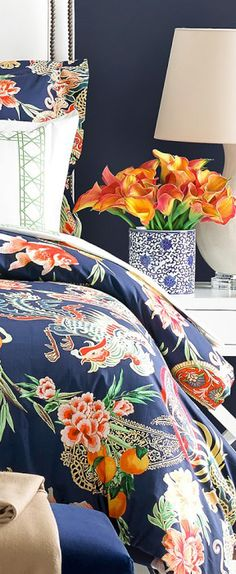 28 Spring Bedroom Decor With Floral Theme - Home Design Asian Inspired Bedroom, Asian Bedroom, Bedroom Orange, Bright Blue Bedrooms, Tropical Bedrooms, Tropical Bathroom, Bedroom Themes, Bedroom Decor, Bedroom Designs