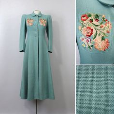 Gorgeous long aqua 1930s coat with floral embroidery. #vintage #1930s #coat #fashion