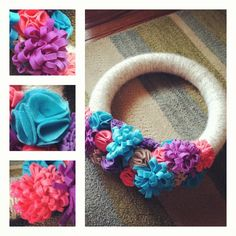 Spring wreath.... Super simple... Foam wreath wrapped in yarn and add any felt flowers of your choice:)
