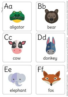 A-F animal flash cards