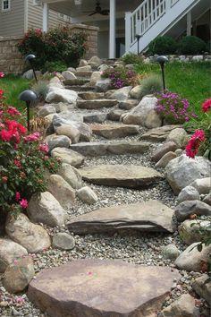 Garden Ideas Driveway, Garden Stairs, Garden Paths, Pathway Ideas, Herb Garden, Steep Backyard, Backyard Landscaping, Landscaping Ideas, Backyard Walkway