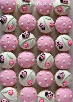 Pink Ladybug Cupcakes and Cake Pops | http://rosebakes.com/pink-ladybug-cupcakes-cake-pops/
