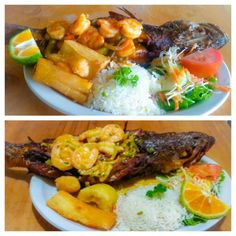 Pescado relleno de camarones al ajillo o camarones en mantequilla,acompañado con yucs,arroz blanco y ensalada.