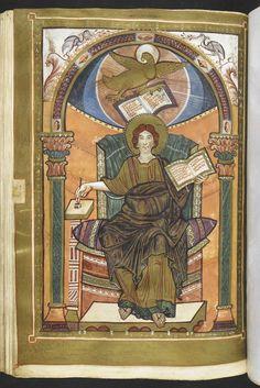 Harley Golden Gospels -  1st quarter of the 9th century.  Digitized at http://www.bl.uk/manuscripts/FullDisplay.aspx?ref=harley_ms_2788
