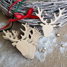 Wooden Hanging Stag Head Christmas Decorations, Gift Tags, Blank Craft Shapes