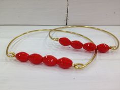 Red Beaded Bangle  Stacked Bangles  Simple Chic by kraftychix, $7.00