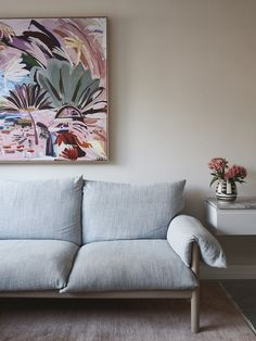 At Home with Designer Cushla McFadden Rugs In Living Room, Living Spaces, Room Rugs, Mark Henry, Bentwood Chairs, Australian Art, Minimalist Interior, Beautiful Space, Soft Furnishings