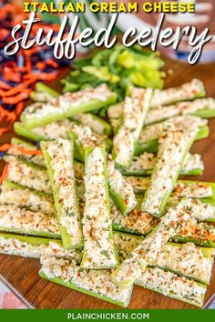 Italian Cream Cheese Stuffed Celery - outrageously good with only 5 ingredients! A party favorite! Can make in advance and refrigerate until ready to serve. Celery, cream cheese, Italian dressing mix, mayonnaise, and mozzarella cheese. This is always the first thing to go! Great for game day, parties, potlucks, and the holidays! #celery #appetizer #gameday #thanksgiving #christmas #stuffedcelery Make Ahead Appetizers, Holiday Appetizers, Yummy Appetizers, Appetizer Recipes, Party Recipes, Thanksgiving Appetizers, Chicken Appetizers, Italian Party Appetizers, Cream Cheese Appetizers