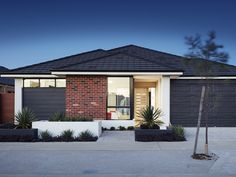 'The Muse' elevation. WINNER of 'Best Display Home in price category $190,000 - $210,000' at the 2014 Master Builders Association Awards. A 15m frontage. Rustic elevation, combination of finishes, feature face brick, panel wall cladding, contrast render. Red Brick Exteriors, Brick Facade, Facade House, House Facades, Bungalow Exterior, Exterior House Colors, Midland Brick, Brick Rendering, Brick Feature Wall