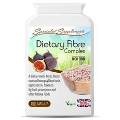 Dietary Fibre Complex is a high fibre nutritional formula, providing 513mg of dietary fibre per easy-to-take capsule.    The fibre is derived from psyllium husks and seeds, flaxseed, prune juice, fig fruit, rhubarb, pectin and other naturally high-fibre foods and herbs.    This fibre complex will provide the user with a healthy combination of both insoluble and soluble fibre (a key ingredient to a healthy, varied and balanced diet). It is more than just roughage - it also provides cellulose…