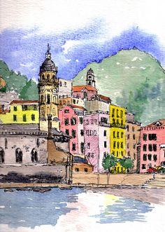 Watercolour of Vernazza, Cinque Terre in Italy by Quilliam Collister.